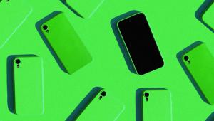 fundo verde e vários celulares da mesma cor com a parte de trás para cima e apenas um aparelho com a tela preta à mostra.